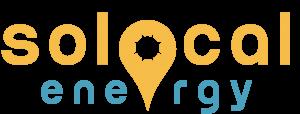 """Das Logo von SoLocal Energy. Oranger Schriftzug """"solocal"""" und darunter blauer Schriftzug """"energy"""". Das """"o"""" von local ist durch einen als Sonne stilisierten Standortmarker ersetzt."""