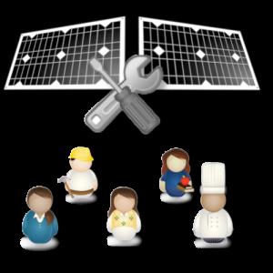fünf stilisierte Personen vor zwei stilisierten Solarmodulen und gekreuzten Werkzeugen