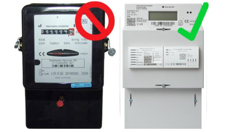 Ferrariszähler (links) sind nicht für den Betrieb von Balkonkraftwerken geeignet. Ihr braucht einen rücklaufgeschützten Stromzähler, z.B. ein modernes Messsystem (rechts)