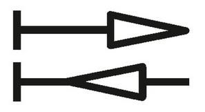 Zwei-Richtungs-Zähler: zwei gegenläufige Pfeile mit Endstrich links