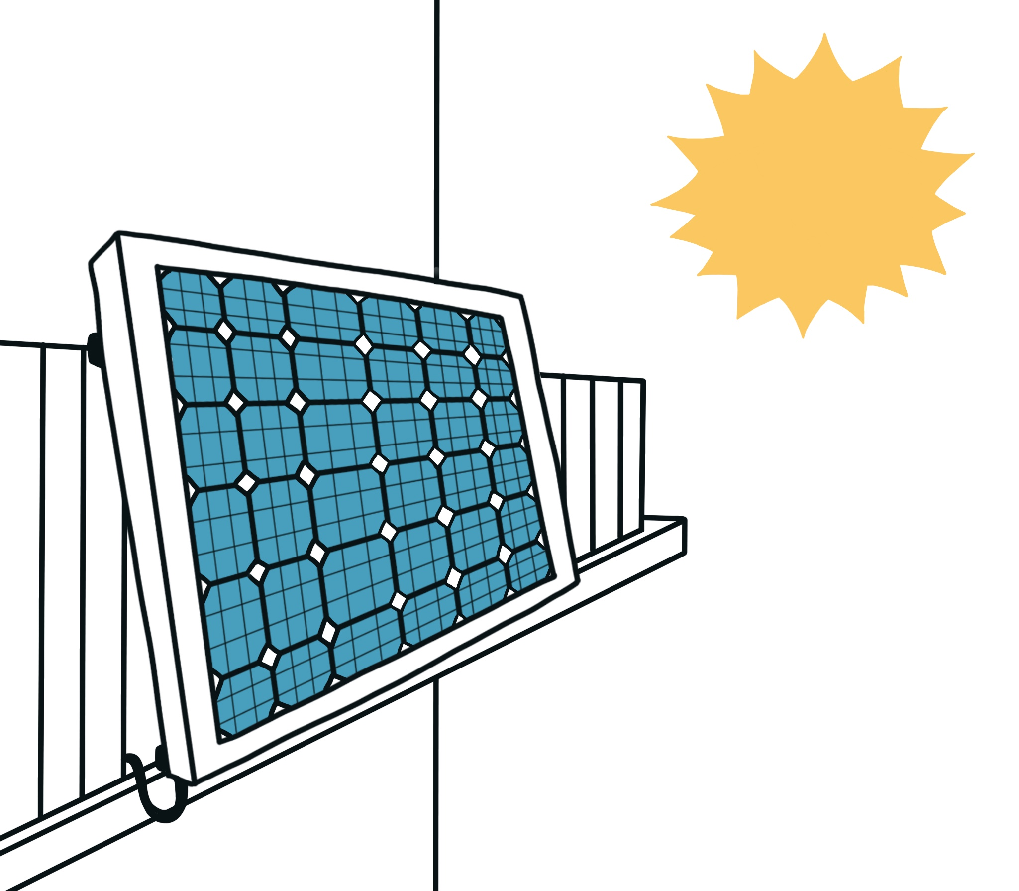 Solarmodul am Balkongeländer