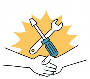 Zwei Hände schlagen vor einem Werkzeugset ein - Symbol der Selbstbaugemeinschaft