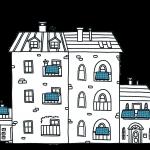 Mehrfamilienhaus mit Solarzellen und Gemeinschaftsräumen