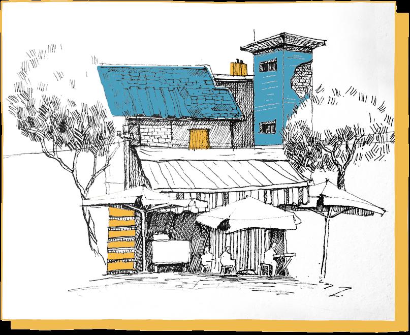 Sanierungsbedürftiges und verwinkeltes Haus, stilisiert.